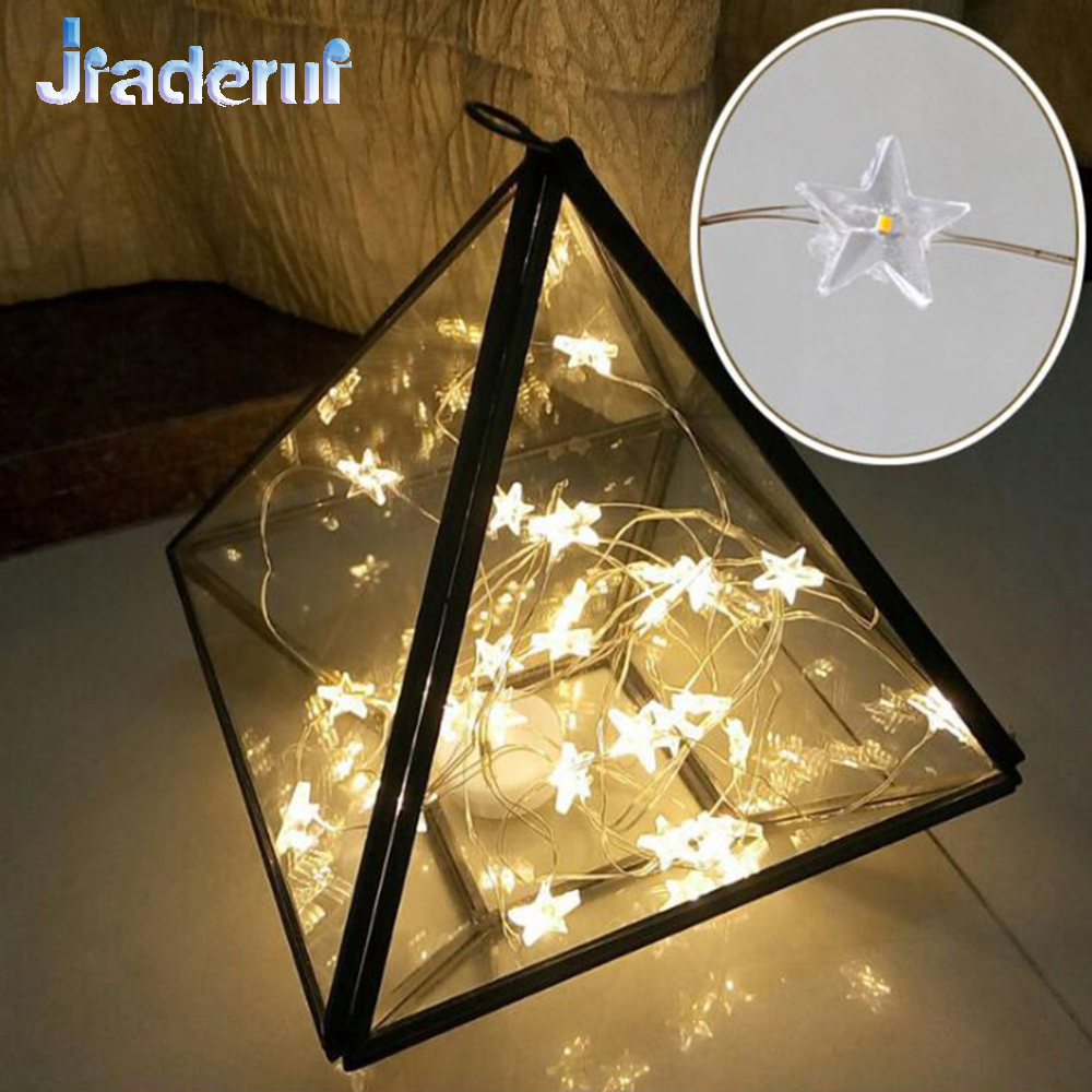 Jiaderui 3M 30Led Stars Copper Wire Fairy Christmas String Lights Waterproof LED Stars New Year Party Holiday Decor Fairy Lights