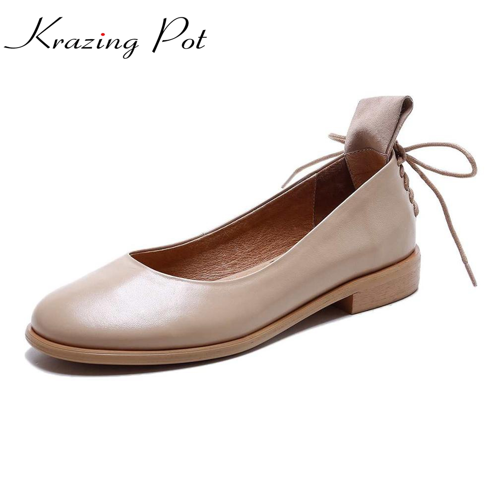 Krazing Pot fashion brand shoes genuine leather slip on round toe preppy style low heel bowtie
