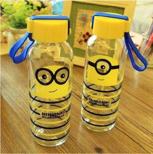 300 ml estilo de dibujos animados botella de agua cristal con la