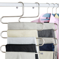 New Magic Stainless Steel Trousers Hanger Multifunction Pants Closet Belt Holder Rack S Type 5 Layers