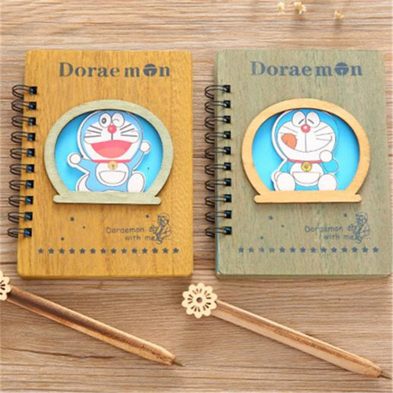 Doraemon Wooden Notebook Set Anime Ballpoint Note Book With Pen Notebook Set Diary Day Journal Stationery School Supplies 18cm