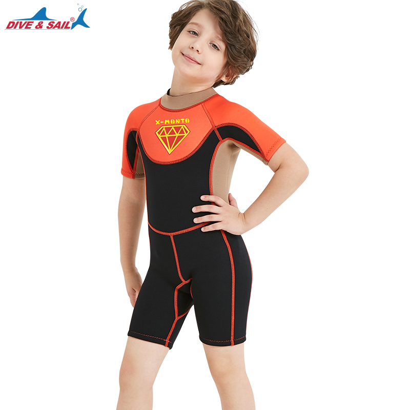 Boys Shorty Wetsuit - Neoprene Kids Wetsuits Junior Core Warmer Swimsuit One Piece Jump Suit Bathing Suits Todder Girls 90-145cm