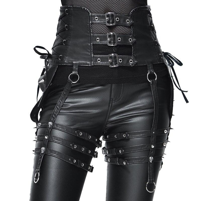 Панк стиль Женские аксессуары ремни тяжелый локомотив заклепки Ремни PU Металлические Регулируемые ремни для ног Аксессуары для вечеринки в стиле Хэллоуин