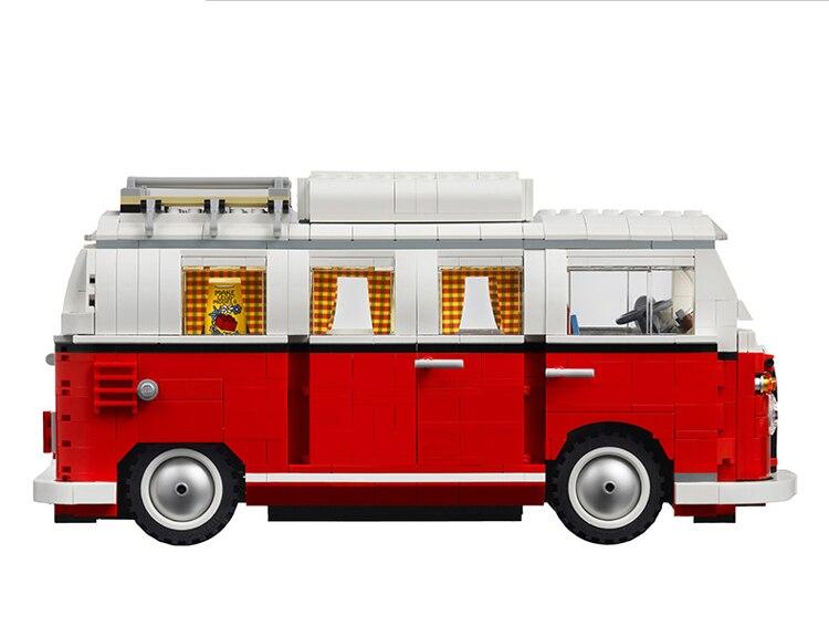 البلاستيك اللبنات تكنيك 1354 قطعة T1 شاحنة التخييم سيارة التصميم قوالب بناء لعبة حافلة الصبي الهدايا نموذج 21001-في حواجز من الألعاب والهوايات على  مجموعة 1