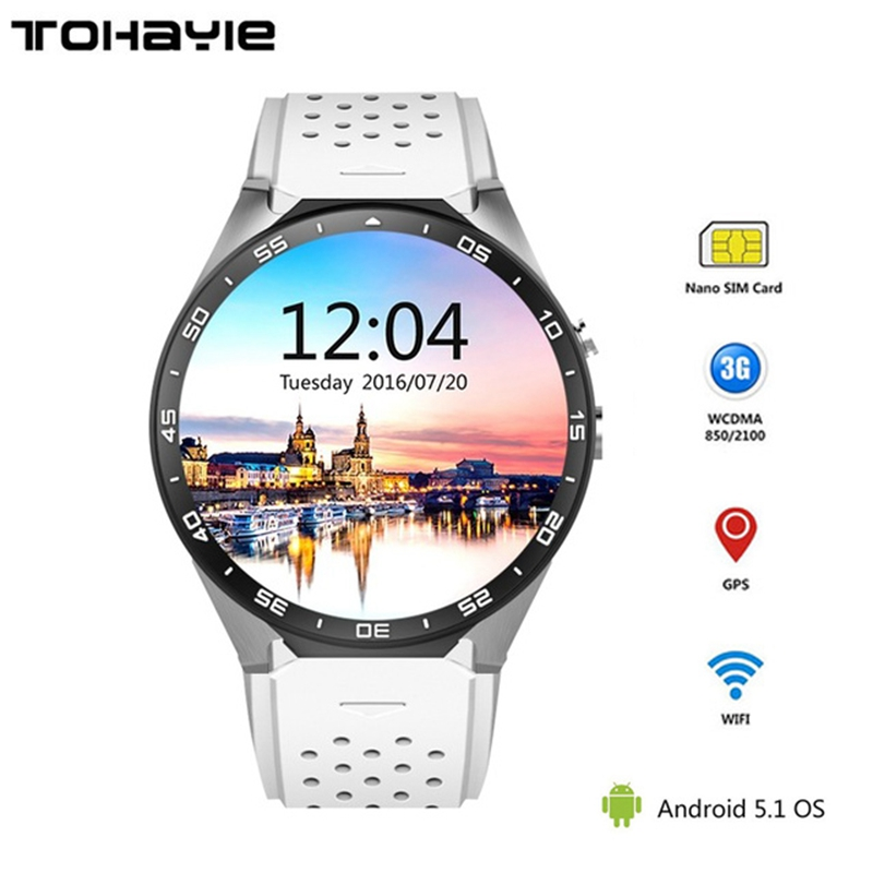 ToHayie KW88 3G WIFI Smartwatch Cell Phone Bluetooth Smart Watch Phone Android 5.1 SIM Card Camera Heart Rate Monitor GPS Watch 3g smart watch finow k9 android 4 4 bluetooth wcdma wifi gps sim smartwatch colock phone for ios