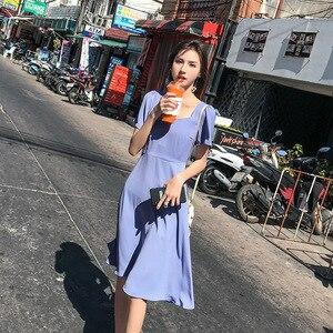 Image 2 - 2019 Top sale Spring Long Pleated dress Summer Casual Women High Waist Elascity