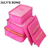 JULY'S песня 6 шт./компл. дорожная сумка, чемодан сумка на молнии Портативный Упаковка Организатор водонепроницаемая сумка чехол Dropshiping
