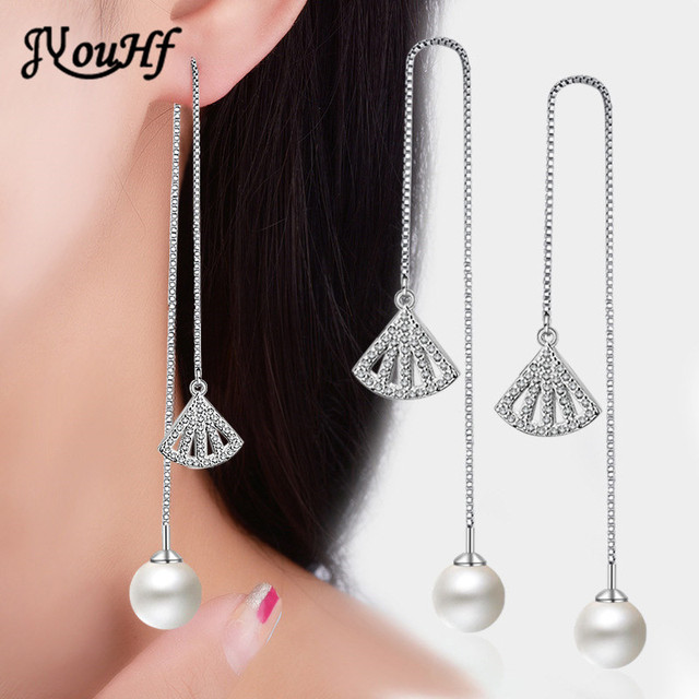 Jyouhf Fashion Simple Pearl Hanging Earrings Female Clic Long Tels Hollow Sector Fan Dangle Wedding