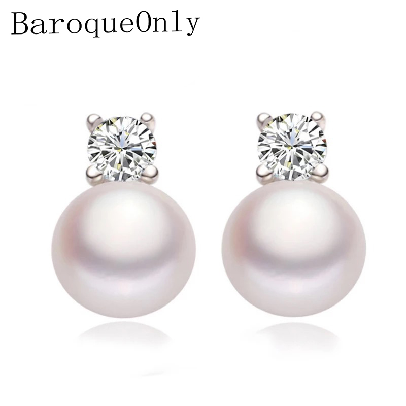 BaroqueOnly Shinny Studs Earrings 925 Silver Earrings Pearl Earrings Fine Jewelry Gifts for Women New White/Pink/Purple/Black(China)