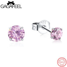 GAGAFEEL 925 Sterling Silver Earrings With Stones 5 Colors Stud Pending Fashion Women Jewelry 4/5/6/7MM CZ Zircon Dropshipping(China)