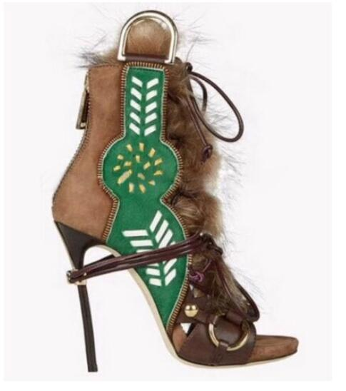 цены Latest Green Multi-Color Peep Toe Boots Patchwork Lace Up Stiletto Heel Fur Embellished Cross-Tied Ring Buckle Sandal Booties
