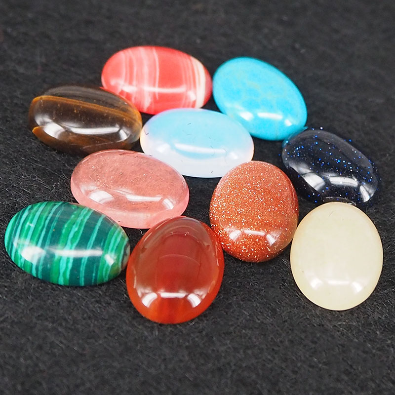 5PCS 18*13MM 25*18MM 30*20MM Random color Natural stone & synthetic stone Oval Cabochon Beads Diy Jewelry Findings