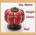 Abóbora maçaneta de cerâmica de cor Vermelha Single Hole knob liga de Zinco Cozinha Móveis knob gaveta knob