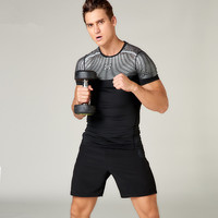 New Men Running Set Sports Suit Quick Dry Basketball Soccer Shorts Fitness Training Compression Underwear Shirts