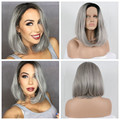 Dark Roots Ombre Grey Bob Wigs Synthetic Lace Front Wig Heat Resistant Fiber Hair