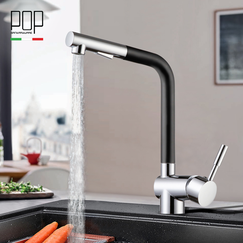 POP Brand New design sink faucet chrome paint silver swivel black color kitchen hot and cold sink Mixer tap brass kitchen faucet ydl f 0506 kitchen brass sink basin mixer tap chrome spray swivel faucet silver black