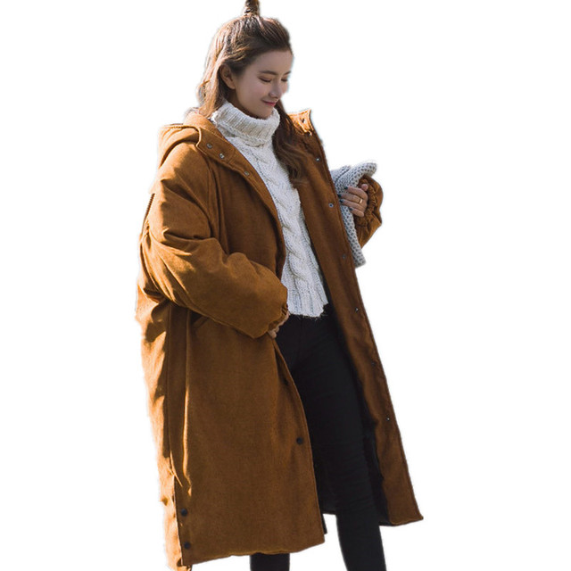 Cheap BF Loose Hooded Oversized Thick Warm Womens Winter Jackets Cotton Padded Casual Solid Parka High Quality Winer Jatcket TT3301