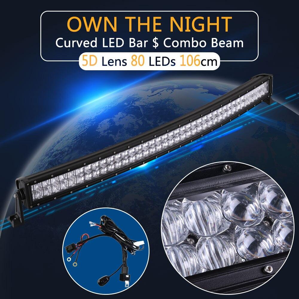 Pouvoir réel 5D 42 Pouce Courbe LED Light Bar avec Fil Kit 12 V 24 V Combo Faisceau pour Offroad Bateau Voiture Camion ATV SUV 4WD 4x4 Travail lampe