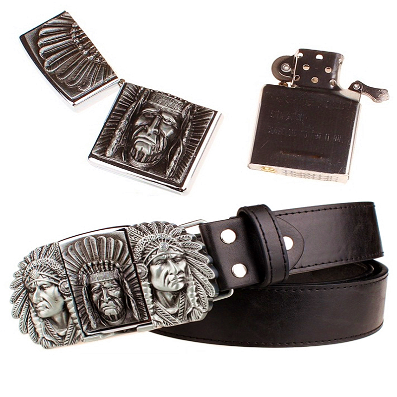 Fashion gift men's belt kerosene lighter belt metal buckle belts Indian chief design punk rock style strap for men gift belt