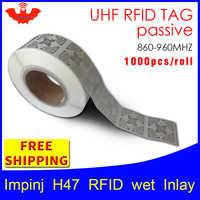 UHF 帯 RFID タグステッカー Impinj H47 EPC6C ウェットインレイ 915mhz868mhz860-960MHZ Higgs3 1000 個送料無料粘着パッシブ rfid ラベル