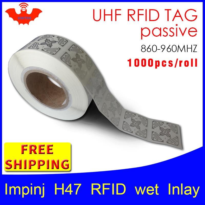 UHF RFID tag sticker Impinj H47 EPC6C wet inlay 915mhz868mhz860 960MHZ Higgs3 1000pcs free shipping adhesive passive RFID label