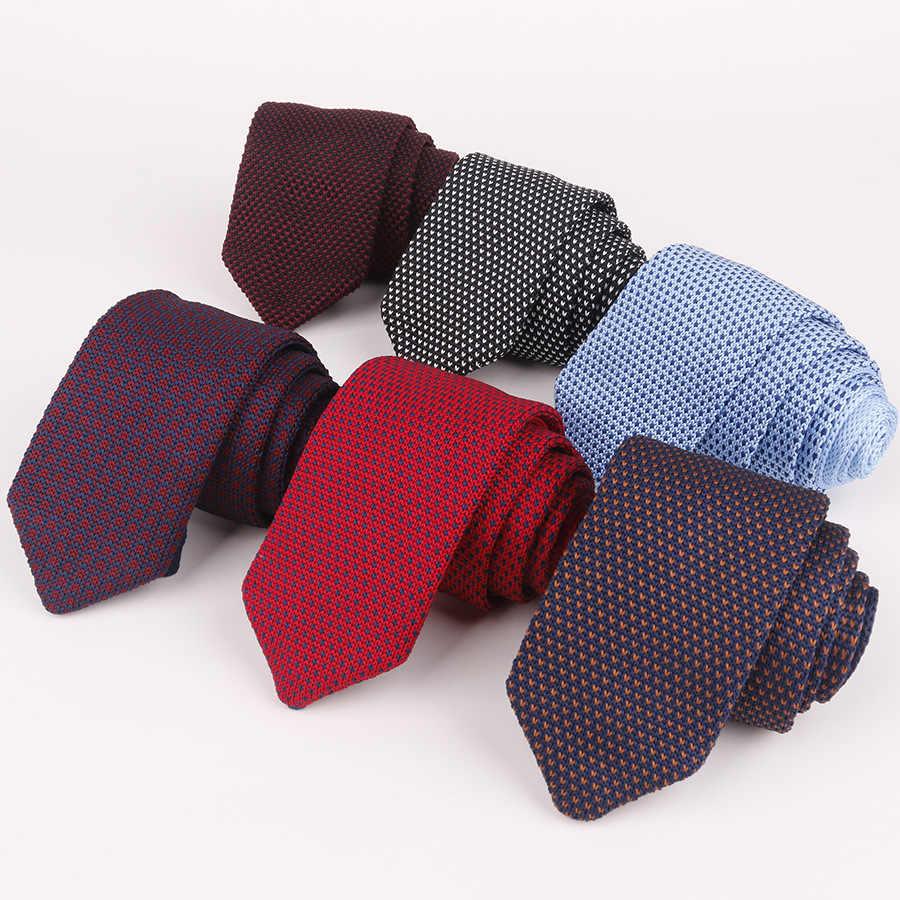 Corbatas multicolor de alta calidad para hombre, nuevas corbatas tejidas de 148-6cm de largo, corbatas para caballero negocios con lunares azules y rojos, corbatas para caballero negocios