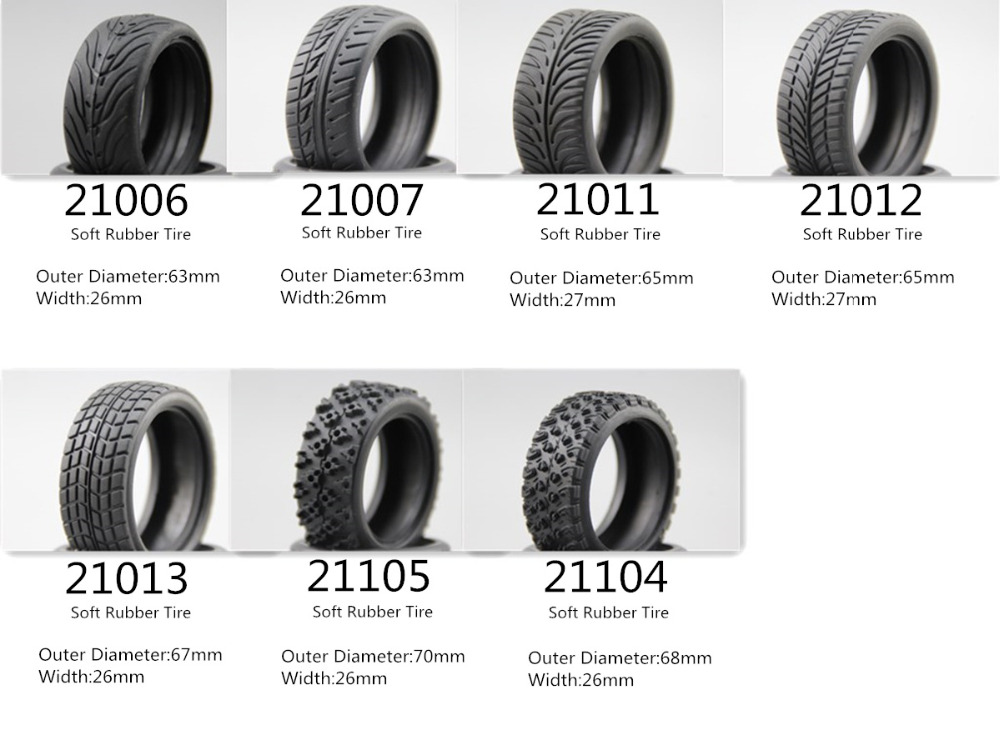 4pcs RC Model Car 1/10 Scale Soft Rubber Tires Tyre Fits For 1:10 Touring Car 1/10 Tire
