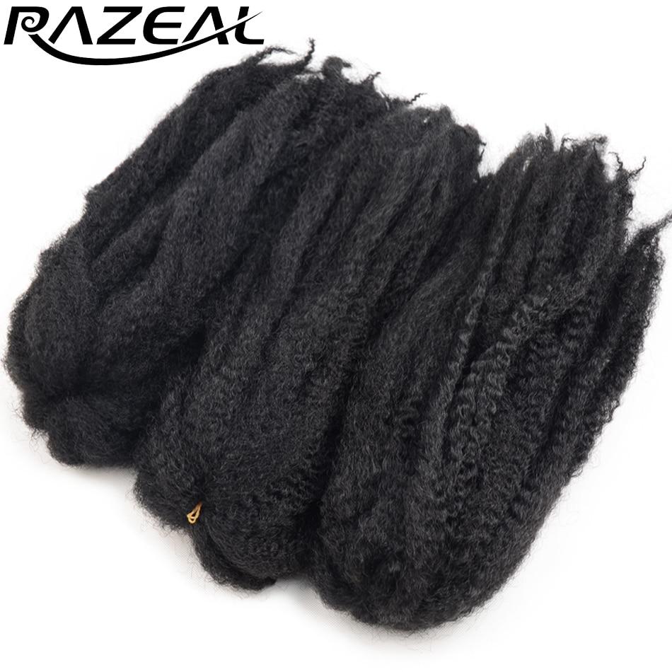 Razeal 5PCS 18'' 65grams Crochet Braid Marly Braids Hair Afro Twist Synthetic Braiding Hair Extensions High Temperature Fiber