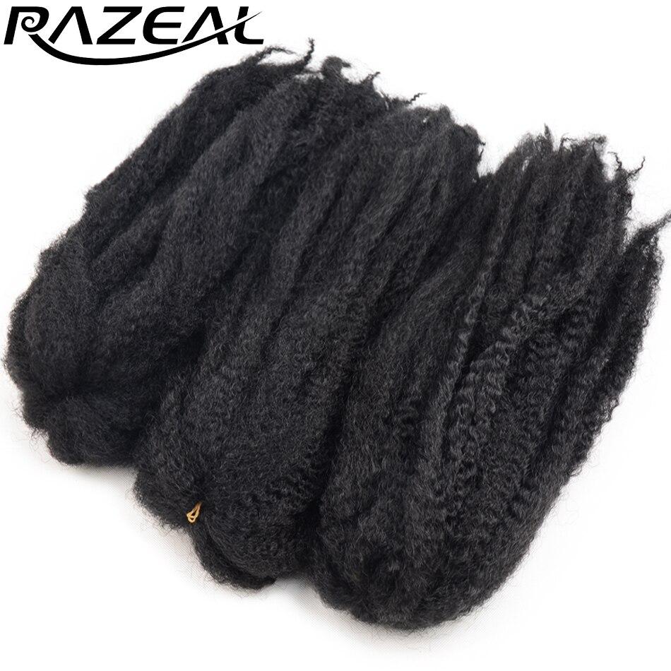 """Tranças de Cabelo Extensões de Cabelo Sintético de Alta Marly Razeal """"65 Gramas Crochê Trança Afro Torção Temperatura Fibra 5 Pcs 18"""