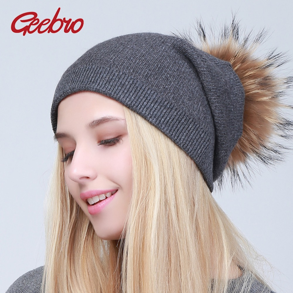 Geebro Women's Knitted Cashmere   Beanies   Hat Winter Knitting Warm Wool   Skullies     Beanies   with Raccoon Fur Pompom Ladies Solid Cap