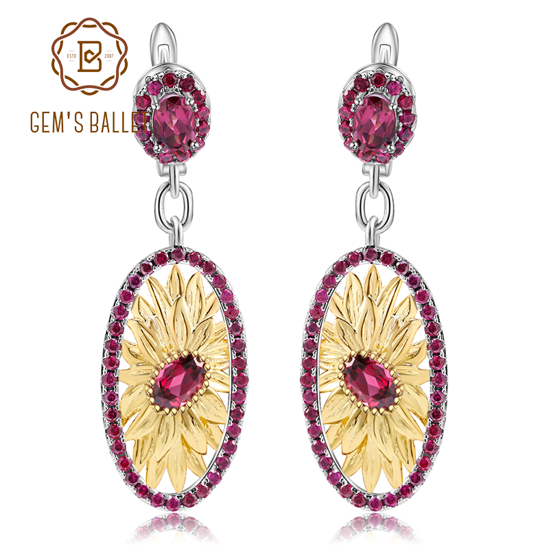 GEM S BALLET 2 40Ct Natural Rhodolite Garnet Drop Earrings 925 Sterling Silver Oval Original Sunflower