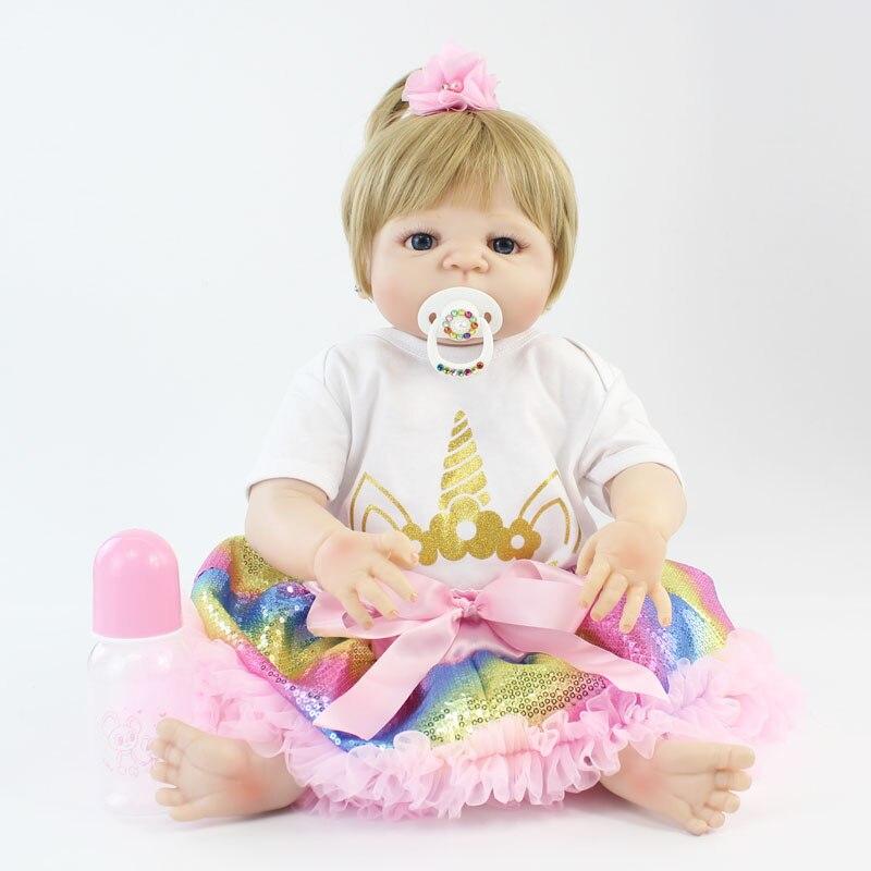55 cm Volle Silikon Körper Reborn Baby Blonde Mädchen Puppe Spielzeug Vinyl Neugeborenen Prinzessin Babys Mit Einhorn Kleidung Lebendig Bebe boneca