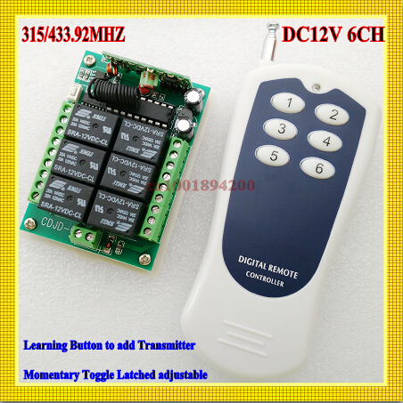 RF 12V 10A 6 CH Channel RF Wireless Remote Control System Transmitter & Receiver for home Applicance or electrical machine 12v 8 ch channel rf wireless remote control switch