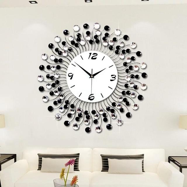 3D Wanduhr 120 Stücke Diamanten Modernes Design Wohnkultur Wand Uhren  Wohnzimmer Dekorative Schmiedeeisen Schweigen Großer Uhr