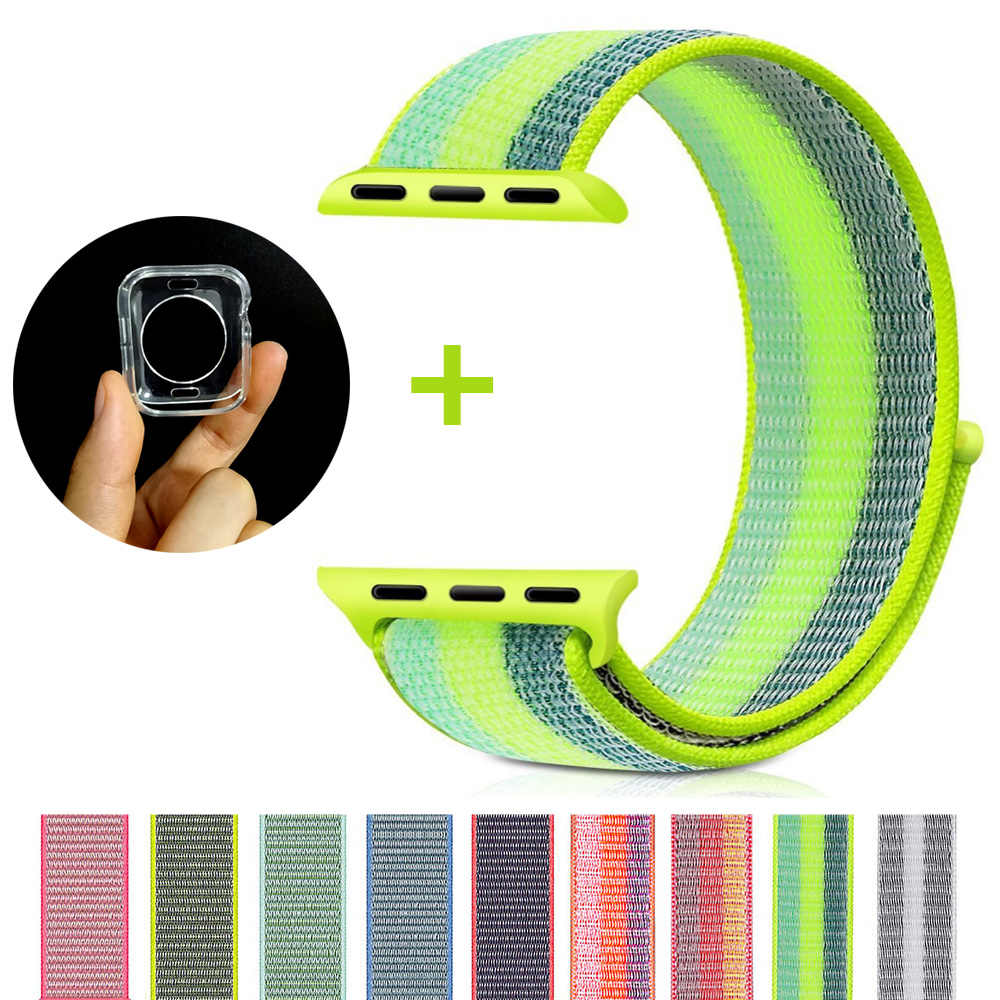 Nylon Sport Loop band for iwatch 4 Color Striped Lightweight Soft Woven Strap for Apple Watch 4 Series 3/2/1 38mm 42mm 40mm 44mm