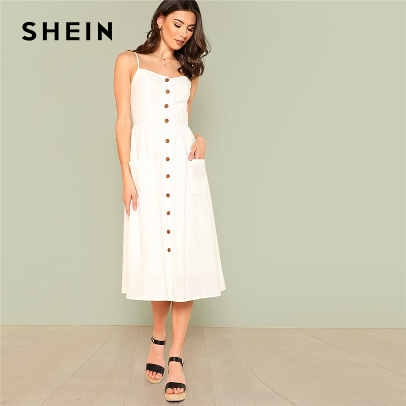 SHEIN White Pocket Patched Button Up Cami Dress Women Spaghetti Strap Sleeveless Plain Dress 2018 Summer Beach Boho Dress