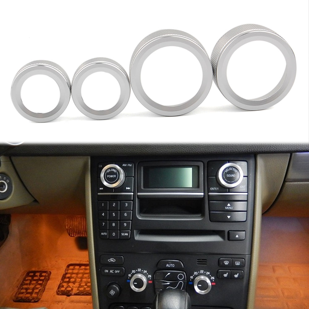 5pcs  Aluminium Alloy Car Air Conditioning Fan Button Audio Control Knob Ring Trim Fit For Volvo XC90 2009-2014 Car Styling