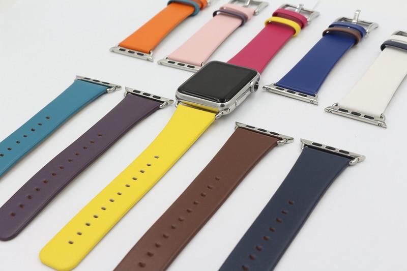купить URVOI strap for apple watch series 1 2 3 stainless steel buckle leather band for iwatch belt modern fashin design free style недорого