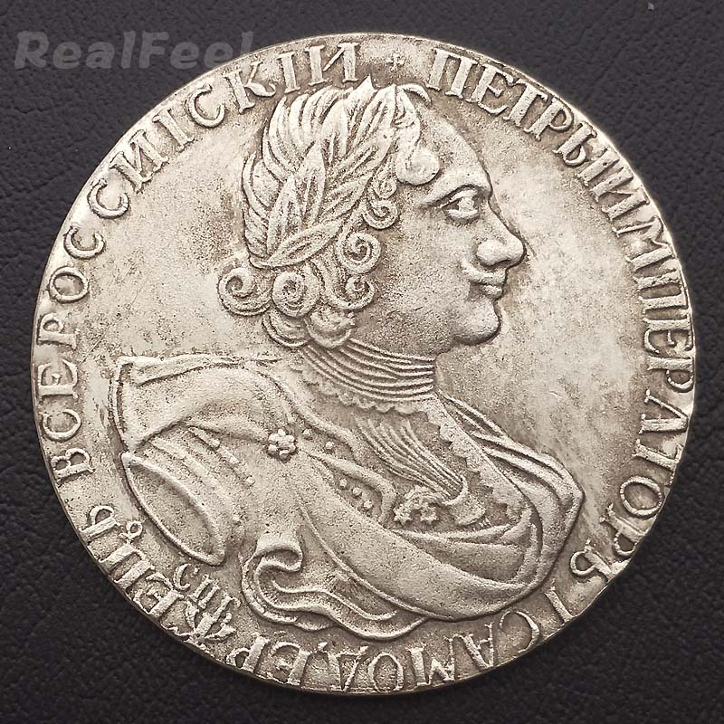 Russian old replica coins copy coins collectible 1724 Peter I 1 Rouble antique copper coins art craft collection