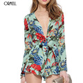 ORMELL Women Sweet Floral Print Long Sleeve V-Neck Jumpsuits Rompers Ladies Fashion Casual Streetwear Playsuits