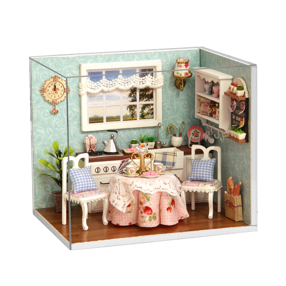 Happy Kitchen Romantic Christmas Gift H - 008 DIY Wooden Dollhouse Furniture Handcraft Miniature Box Kit with Cover LED Light