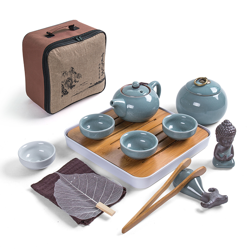 Set de thé chinois Kung Fu de voyage en céramique Portable thé à thé Service de porcelaine Gaiwan voyage kung fu plateau de thé sec de voyage en plein air