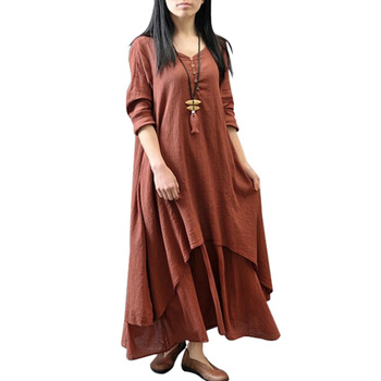Women Chinese Retro Style Fresh girl Summer Sexy Literary Big Linen Dress Plus Size 1PC Hot Sale 2018 Newest Best Women Dresses