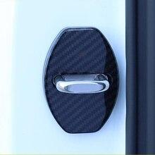 Carbon fiber Door Lock Buckle Protection Protective Cover trim For skoda kodiaq accessories 2017 2018 2019