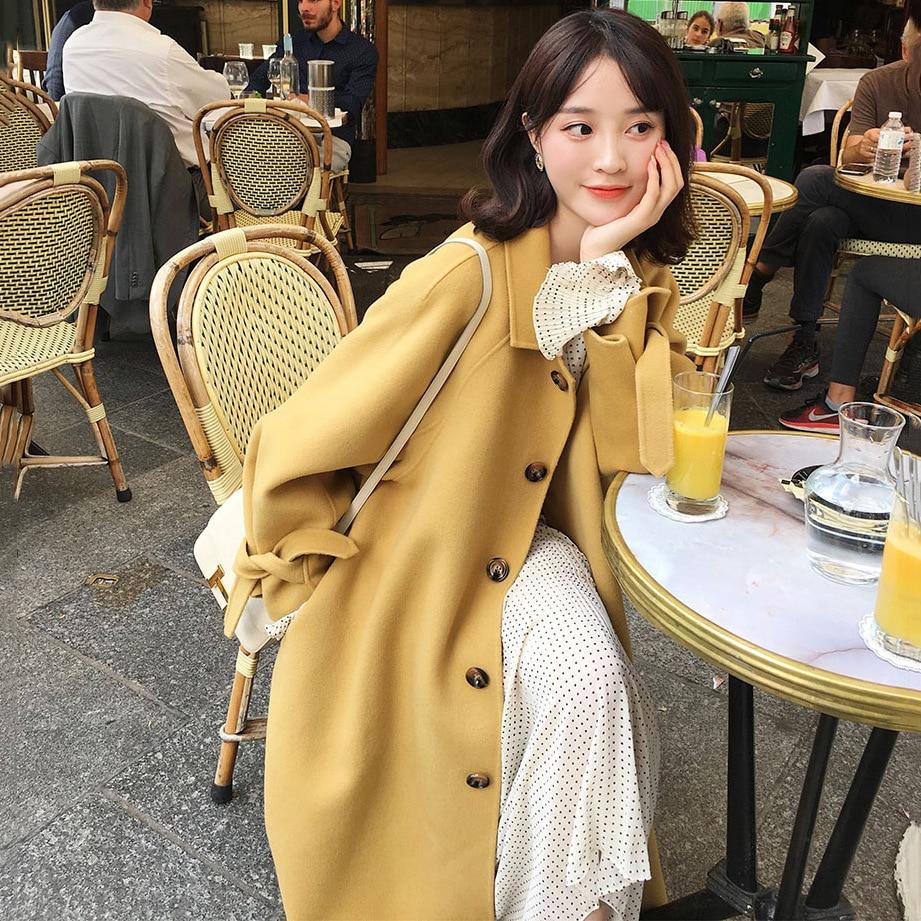 De Vert 2018 Style Mode Automne Pleine Double Long Femme face Laine Noir Hepburn Hiver Manteau Main Jaune xx1w4