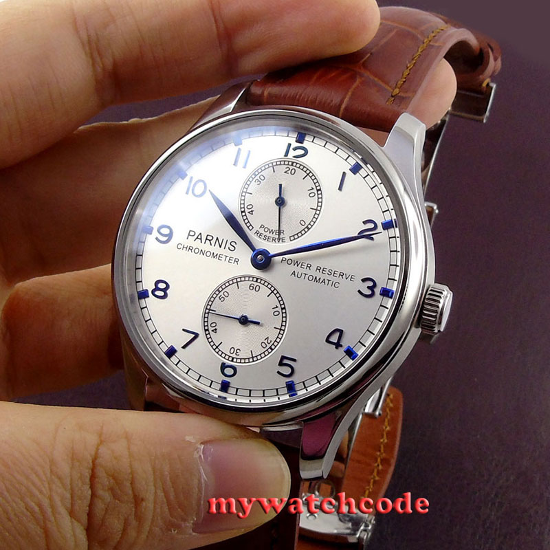43mm parnis silver white dial power reserve Luxury Brand Genuine Leather deployment clasp automatic movement mens