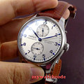 43mm parnis esfera blanca power reserve ST2542 plata movimiento automático reloj para hombre P99B