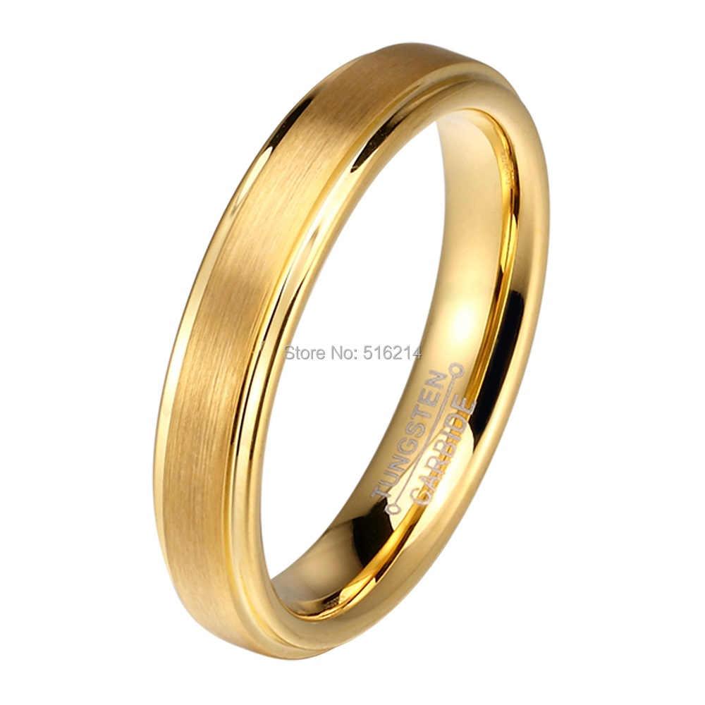Soul для мужчин, 1 пара, золотой цвет, вольфрам, карбид, обручальные кольца, набор для него и нее, 6 мм, для мужчин, 4 мм, для женщин, матовая отделка