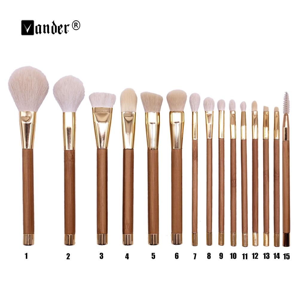 VANDER 15 шт., набор профессиональных кистей для макияжа с бамбуковой ручкой, набор кистей для макияжа, набор инструментов для теней для глаз, ла...