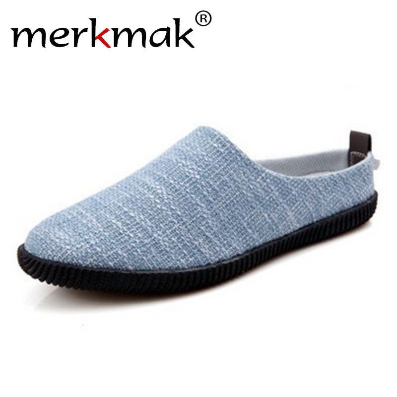 Merkmak Summer Korean Fashion Canvas Men's Slippers Bean Shoes Trend Casual Shoes Men's Loafers Spring Lazy Flats Footwear